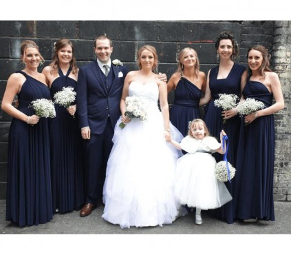 Steel Blue Bridesmaid Dresses