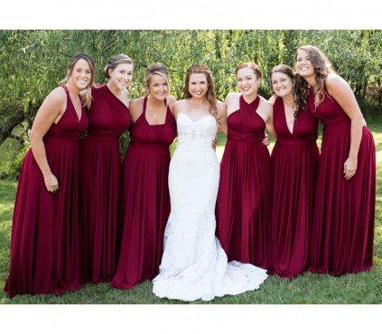 Burgundy Infinity Bridesmaid Wrap Dress