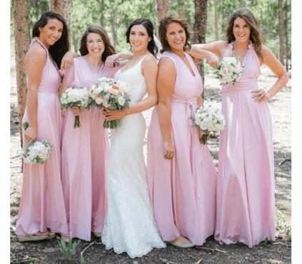 Baby Pink Bridesmaid infinity Dress convertible wrap dress