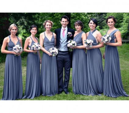 Steel Blue infinity bridesmaid Dress Convertible Wrap Dress