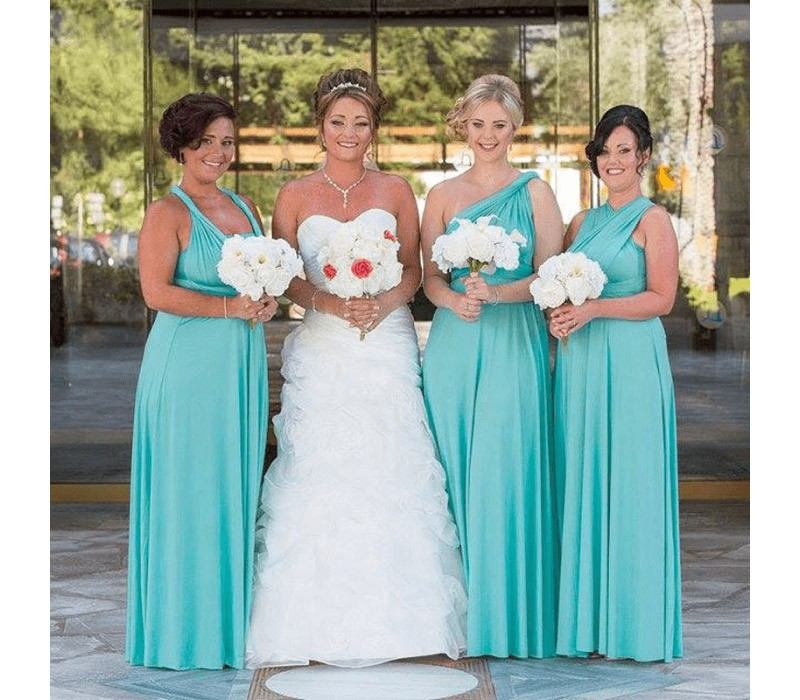 Tiffany Blue Infinity Bridesmaid Dress Multi way wrap dress