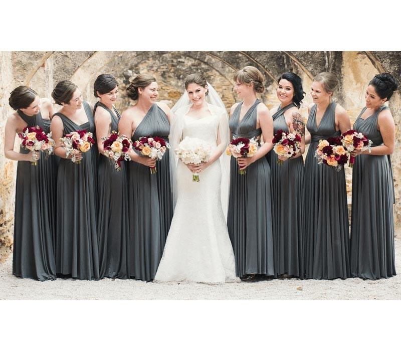 Charcoal Gray Infinity Bridesmaid Dress convertible wrap dress