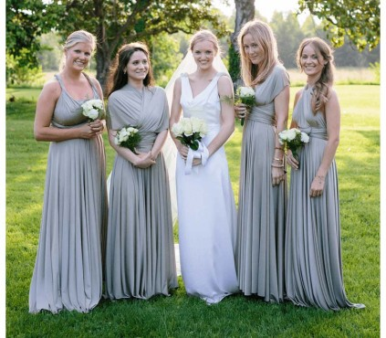 Silver Gray Convertible Bridesmaid Dress infinity Wrap dress