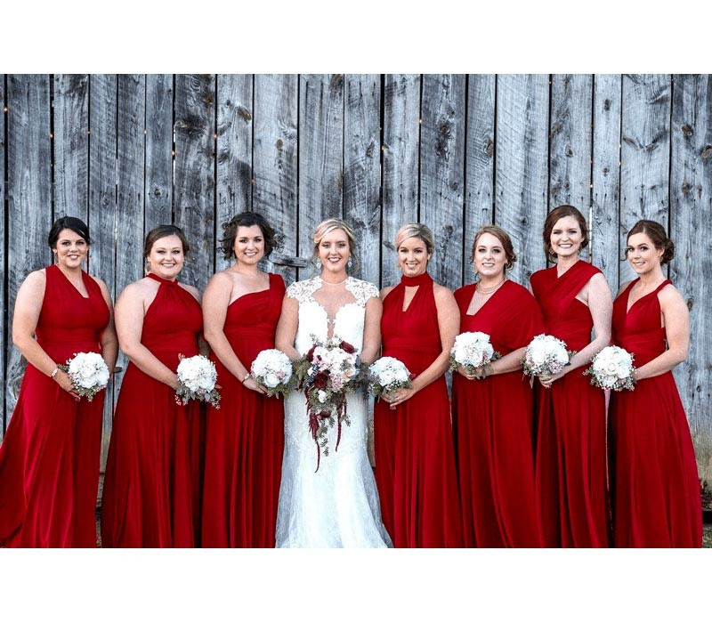 Ruby Red Infinity Bridesmaid Dress Multiway wrap dress