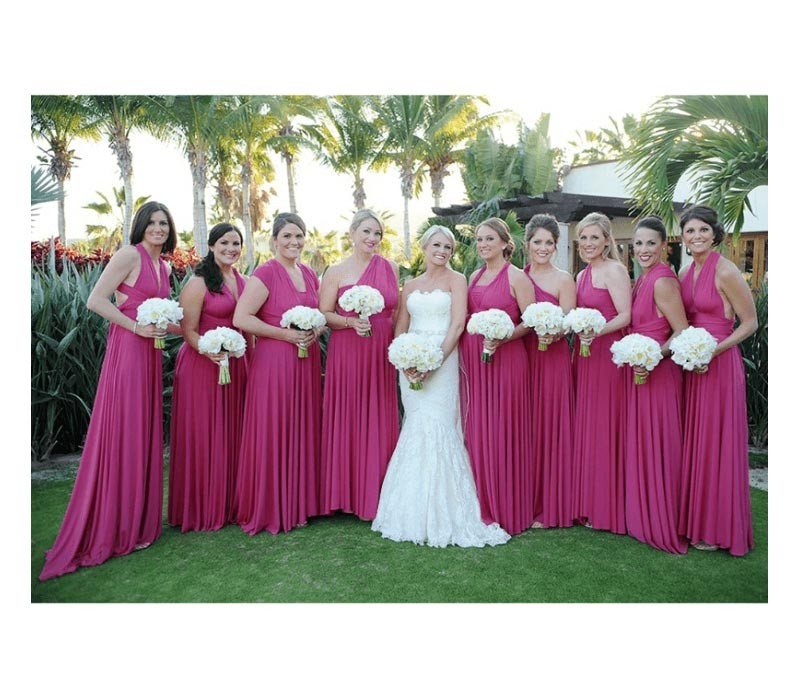 Magenta Infinity bridesmaid Dress convertible Wrap dress