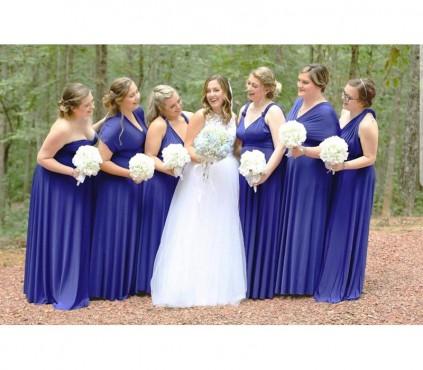 Royal Blue Bridesmaid Infinity Wrap Dress Convertible