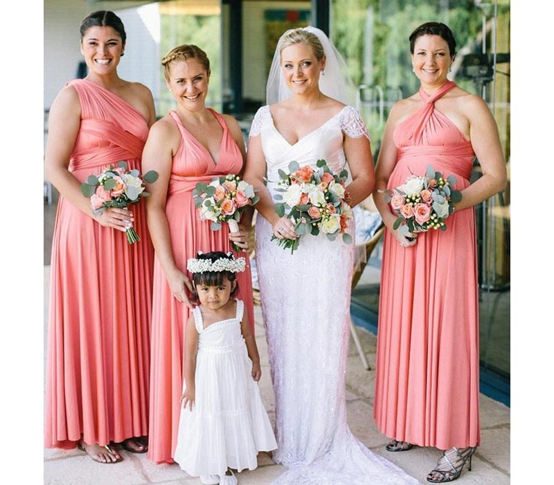 Peach Coral Infinity Bridesmaid Dress Wrap convertible Multiway dress
