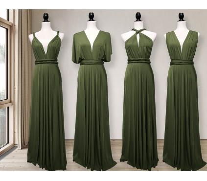 Dark olive green infinity dress