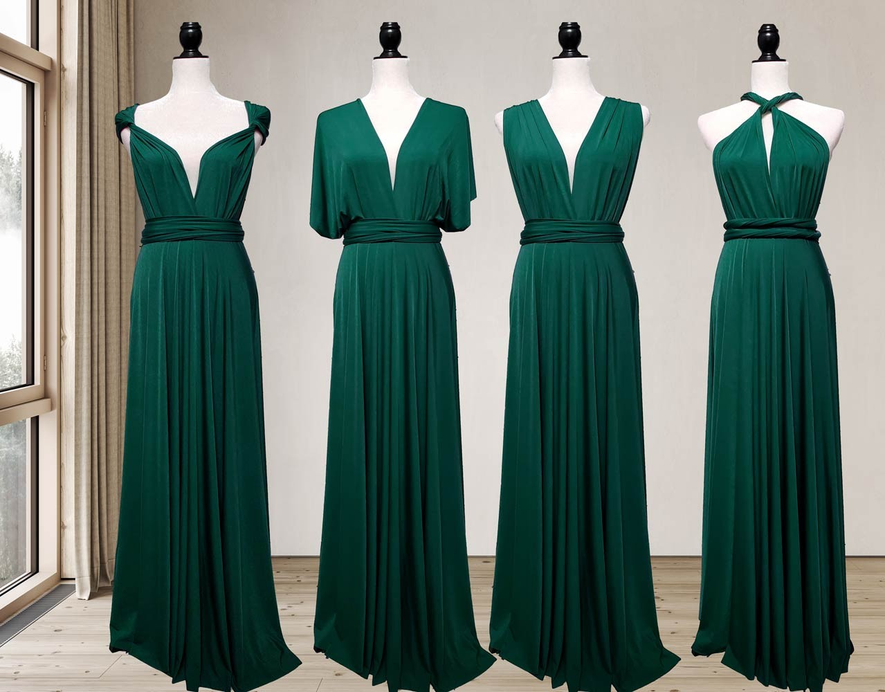 Forest Green bridesmaid dress infinity
